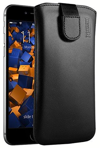mumbi Echt Ledertasche kompatibel mit iPhone 6 / 6S Hülle Leder Tasche Case Wallet, schwarz