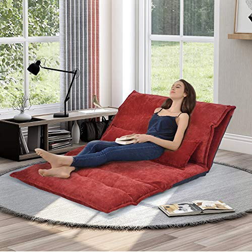 Floor Sofa Bed, Foldable Sleeper Sofa Bed, Lounge Couch, Reclining Sofa Couch with 2 Pillows for Living Room (Red)