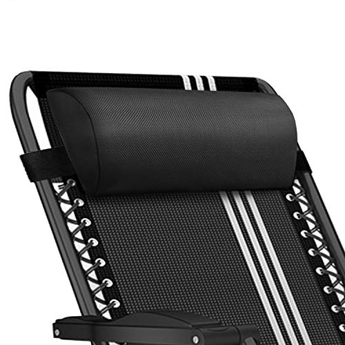 Universal Replacement Pillow headrest for Zero Gravity Chair with Elastic Band, Removable Padded headrest Pillow for Zero Gravity Chairs, Lounge Chair (Black)