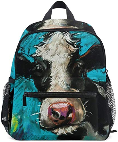 NB UUD Mini Backpack Oil Painting Cow Daily Backpack for Travel