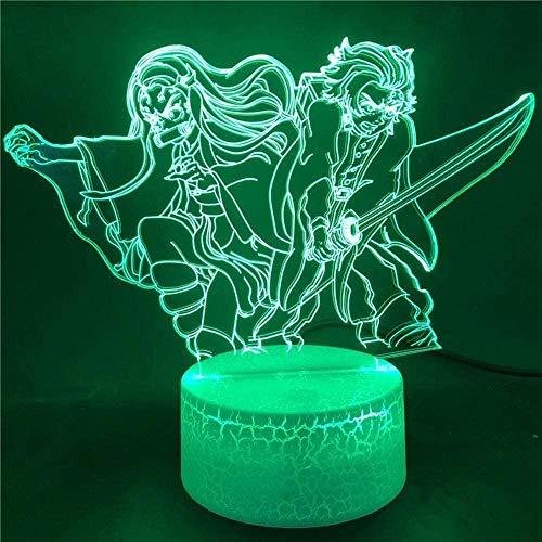 Luces de Noche 3D para niñas Niños Anime Hunter Kamado Luz de Noche LED 3D Demon Tanjirou Nezuko Lampara Reloj Escritorio Cortar Kimetsu No Yaiba Anime Kids