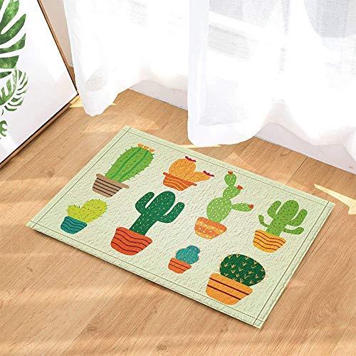 ASDAH Cactus Element Cartoon Eenvoudige Stijl Cactus Bloempotten Bad Tapijten voor Badkamer Niet Slip Vloer Entryways Outdoor Indoor Voordeur Mat Kids Bad Mat Groen