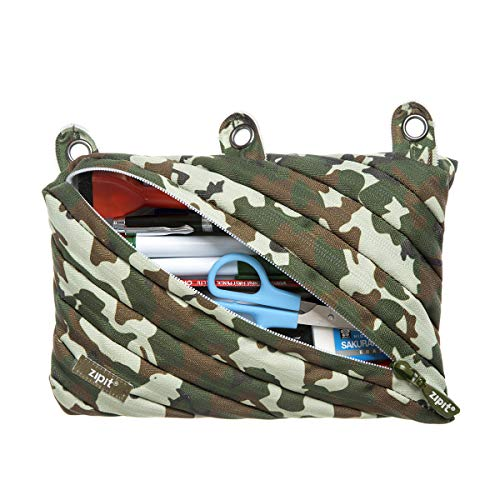 ZIPIT Colorz 3-Ring Binder Pencil Pouch for Boys, Large Capacity, Holds Up to 60 Pens, Made of One Long Zipper! (Camo Green)