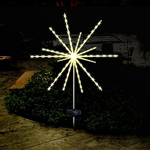 Led Feuerwerk Solarleuchte 112 LED Solar Gartenleuchten Lichterkette IP65 wasserdicht im Freien blühen Feuerwerksbäume outdoor für Balkone Balkonkästen Blumenkästen und Terrassendekoration-1 Packung