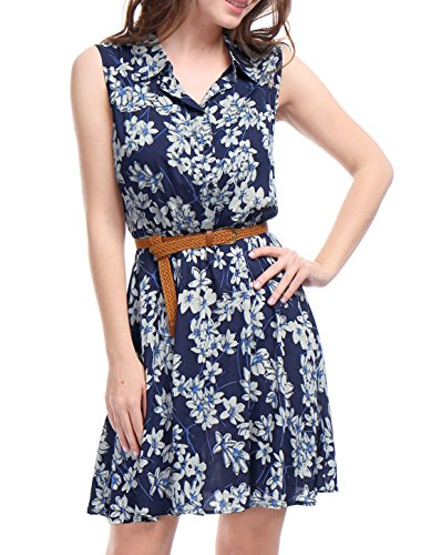 Allegra K Women's Floral Prints Sleeveless Belted Shirt Dress L Dark Blue