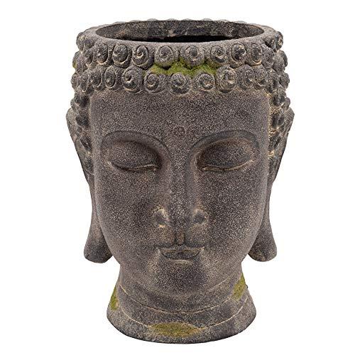 Sagebrook Home Resin, 11'' Buddha Head Planter, Black