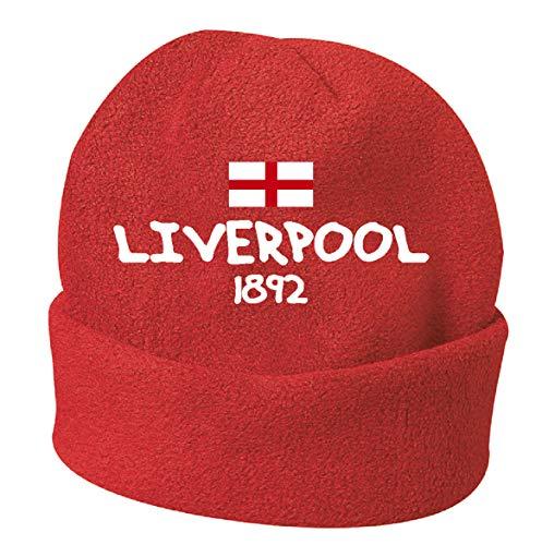 Liverpool Inglaterra - Gorra de invierno bordada de color rojo, talla única 12 para hombre y mujer