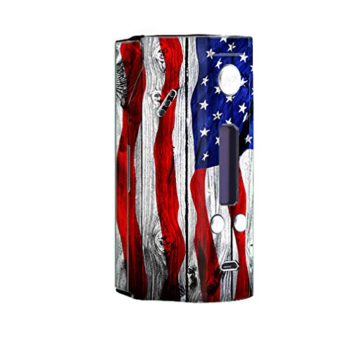 Skin Decal Vinyl Wrap for Wisemec Reuleaux rx200 or evolv dna 200 Vape Mod Box / American Flag on Wood