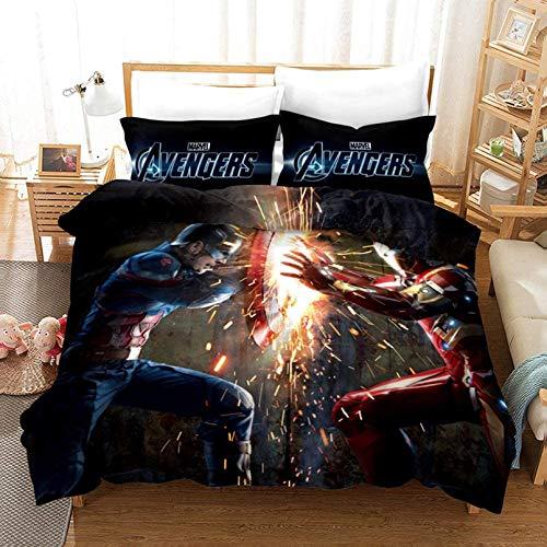 3D Marvel Avengers – Kinder-Bettbezug Iron Man, Hulk, Captain America und Spiderman – lichtbeständiges Polyester – Jungenzimmer-Dekor (E,200 x 200 cm)