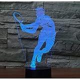 Illusione Ottica 3D Tennis Luce Della Notte LED Lampada 7 Cambiamento di Colore Lampada da Tavolo USB Power Interruttore Tattile Giocattoli per Bambini Decor di Natale Regalo di Compleanno