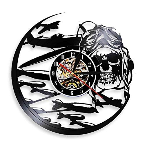OLB&VNM Retro Pilot Skull Reloj de Pared Aviator Skeleton Vinyl Record Reloj de Pared Avión Flying Jet Casco Hipster Goggles Skull Wall Deco