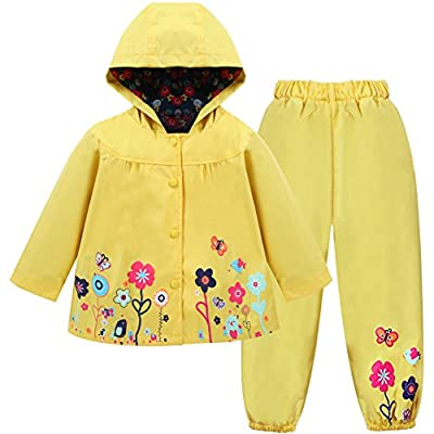 LZH Girl Baby Kid Waterproof Hooded Coat Jacket Outwear Suit Raincoat Hoodies with Pants Yellow 3T(For Age 2-3Y)
