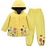 LZH Baby Girls Raincoat Suit Waterproof Hooded Coat Jacket & Trousers Outwear, Yellow, 2-3 Years(110)