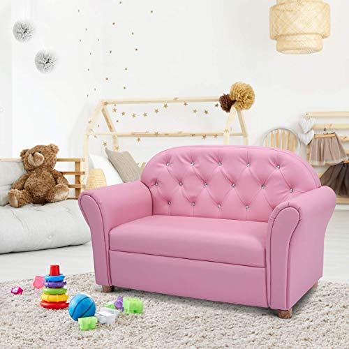 Costzon Kids, PU Leather Upholstered, Sturdy Wood Construction, Armrest Chair for Preschool Children Sofas, 37''x17''x22'' (LxWxH), 37-inch Pink Couch