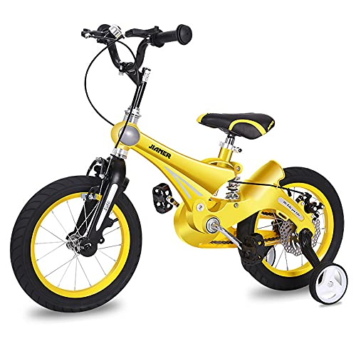 QSYY Freestyle Children's Bicycle, Marco De Aleación De Magnesio Ligero, Frenos De Disco Doble, Bicicleta De 14'16' 18'con Sábanas Y Ruedas Auxiliares, Adecuadas para Niños De 2 A 11 Años,14''