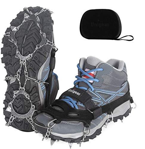 Unigear Steigeisen für Bergschuhe, mit 18 Zähnen, Schuhkrallen, Eisspikes, Schneekette, Grödel und Spikes für Klettern Bergsteigen Trekking High Altitude Winter Outdoor (Schwarz L)
