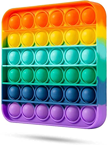 Epsilon Rainbow Square Fidget Toy with Popping Sounds, Autism Special Needs Stress Reliever BPA Free Silicone Push Bubbles Stress Sensory Toy Reliever Office School Game Crafts for Kids Adults (1PCs)