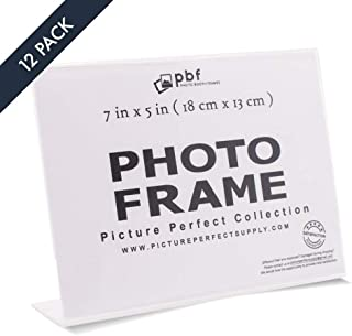 Photo Booth Frames - 7x5 Photo Frame Clear Acrylic Picture Frame Horizontal Sign Holder 7 x 5 (12 Pack)