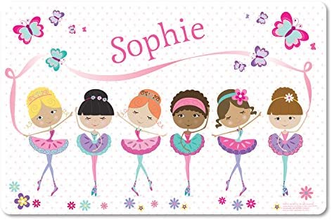 Kids Placemat Personalized with Child s Name Custom Dining Table Mat Unique Gift for Girls Ballerina product image
