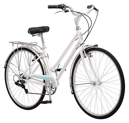 Schwinn Wayfarer Adult Bike Hybrid Retro-Styled Cruiser, 16-Inch/Small Steel Step-Through Frame, 7-Speed Drivetrain, Rear Rack, 700C Wheels, White