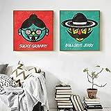 N / A Dibujos Animados Rojo y Verde, Vaquero con Gafas Decorar sobre Lienzo Pintura Imagen Divertida sin Marco 20x20cm