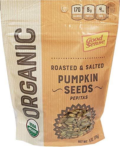 Good Sense Roasted & Salted Organic Pumpkin Seeds (Pepitas), Non-GMO & All Natural, 6 Ounce Resealable Bag