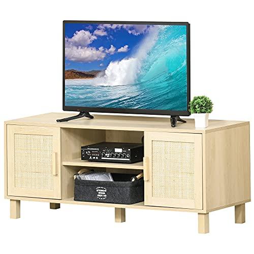HOMCOM Fernsehtisch Lowboard TV-Bank TV-Kommode mit 2 Rattantüren und Offene Regale MDF Natur 115 x 40 x 48 cm