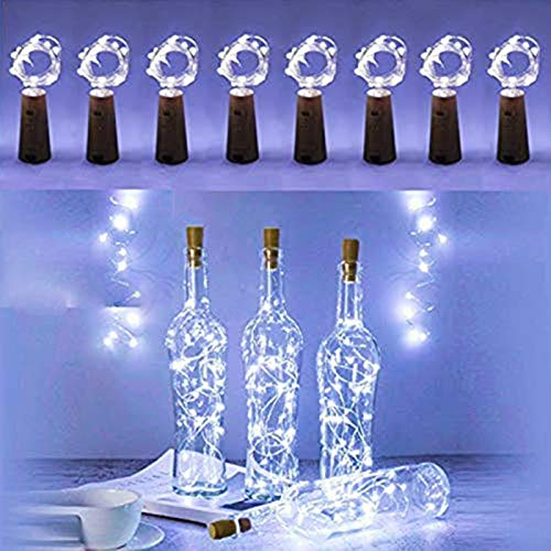 FANSIR Wine Bottle Lights with Cork, 8 Pack 15 LED Battery Operated LED Cork Shape Silver Copper Wire Fairy Mini String Lights for DIY, Party, Decor, Wedding Indoor Outdoor (Cool White)