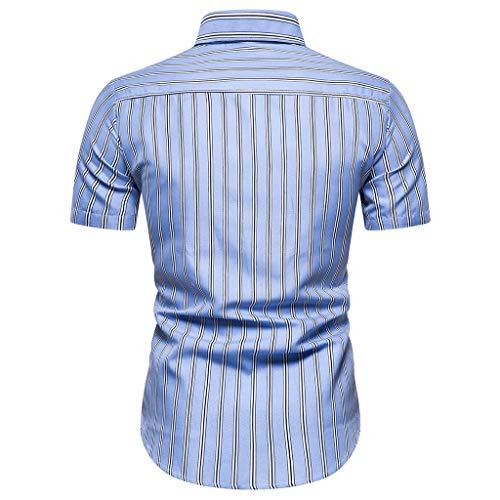 Preisvergleich Produktbild Realde Herren Kurzarm T-Shirt Retro Stehkragen Braun Streifen Slim Fit Top Sommer Freizeithemd Bluse Männer Bequem Atmungsaktiv Oberteil Größe M-3XL
