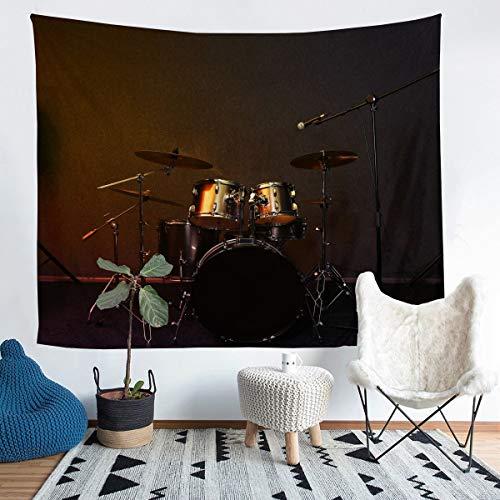 Kit de tambor, manta de pared moderna, para niños, niñas, micrófono con temática de música de roca, para colgar en la pared, decoración ultra suave, patrón musical, manta de cama grande, 122 x 189