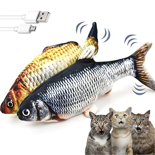 LECHONG 2 Pack Electric Moving Fish Cat Toys for Indoor Cats, Realistic Interactive Cat Toys Wagging Fish Cat Toy Catnip Kicker Toys Funny Kitten Toy for Biting Chewing and Kicking…