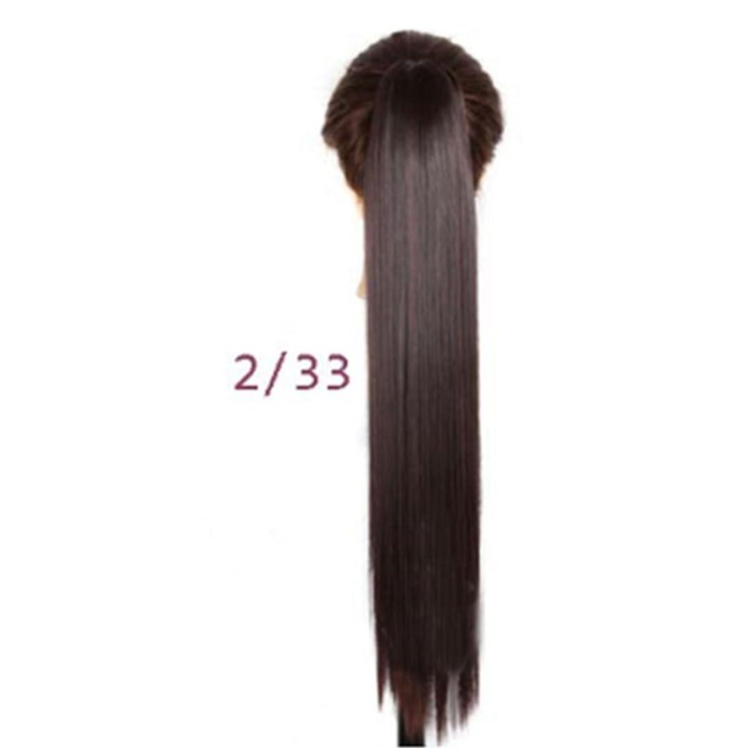 寄り添うカセットパキスタンJIANFU 女性のための24inch / 150g合成高温ヘアピースの長さストレートポニーテール爪クリップロングストレートヘアエクステンション (Color : 2/33#)