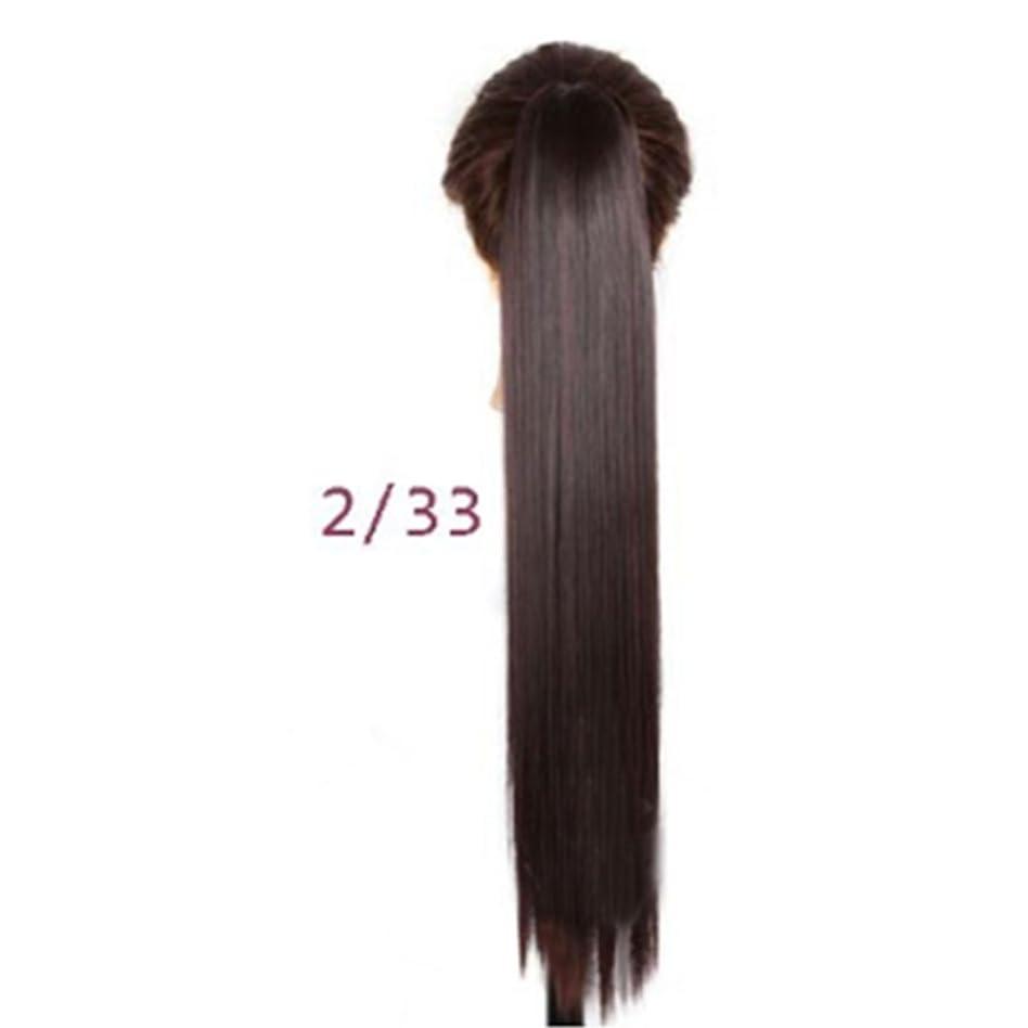散髪ツーリストデータベースJIANFU 女性のための24inch / 150g合成高温ヘアピースの長さストレートポニーテール爪クリップロングストレートヘアエクステンション (Color : 2/33#)