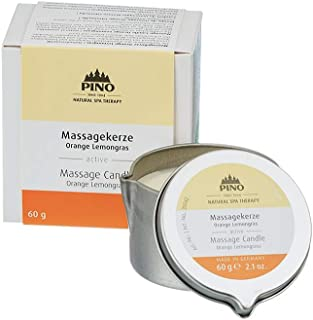 PINO Natural Spa Therapy Scented Massage Candle, Orange Lemongrass, 2.1
