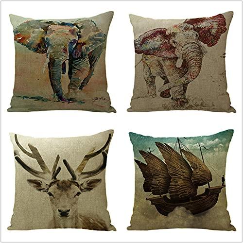 Juego de 4 Cuadrada Fundas de cojín Lino de algodón Throw Cojín Decorativas Elefante Gris para sofá Cama Dormitorio decoración 50x50cm(20x20in)