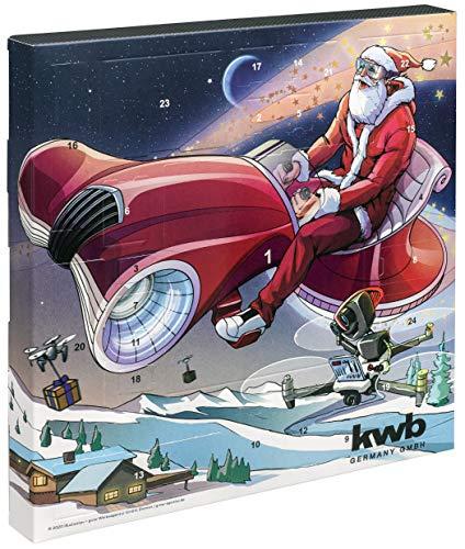 kwb 370140 Adventskalender 2020 mit Gewinn-Chance-Weihnachts-Kalender für Mann und Frau, Werkzeug-Set inkl. Multitool-Card und Tasche, Version
