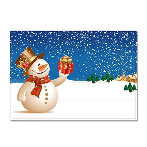 DRTWE Soft Velvet 3D impresión Alfombra Navidad Regalo muñeco de Nieve patrón Antideslizante niños juegan Estera Moderna Sala de Estar Cama Piso Pad casa decoración,152 * 124CM