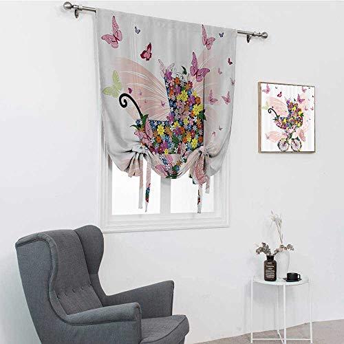 GugeABC Colección de mariposas Decoración Globo, Cochecito de flores y mariposas Carro de celebración de nacimiento Felicidad imagen globo cenefa, rosa, 42 pulgadas x 72 pulgadas