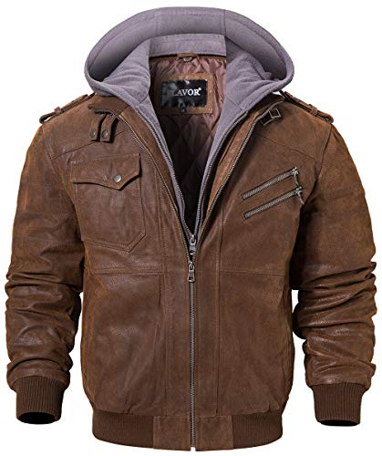 FLAVOR Men Brown Leather Motorcycle Jacket with Removable Hood (XXX-Large, Brown+Gray)