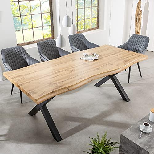 riess-ambiente.de Industrial Esstisch WILD 200cm Wildeichen-Optik mit schwarzen X-Beinen Konferenztisch Küchentisch Tisch