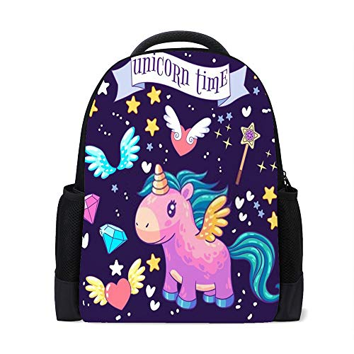 Chehong Rucksack Tagesrucksack für Männer und Frauen, Studenten, Schule, Büchertasche, Dekorationsset mit niedlichem Einhorn-Rucksack, Doppelreißverschluss