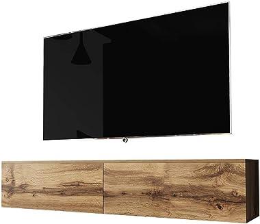 Selsey Kane - Meuble TV à Suspendre/Banc TV (140 cm) (chêne wotan, sans LED)