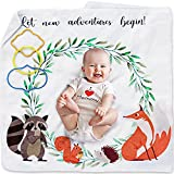 Soft Fleece Organic Baby Milestone Blanket for Boys and Girls - Unisex Gender Neutral Design with Woodland Animal Motif - Daily, Weekly, Monthly and Yearly Age Tracker for Babies