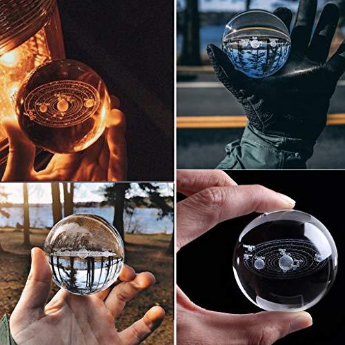 AMhomely®3D Kristallkugel des Sonnensystems - 3D Sonnensystem Kristallkugel Graviertes Sonnensystem Miniatur Planeten Modell Dekoration/dekoration/auto dekoration