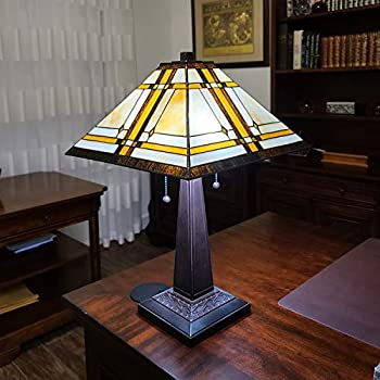 Amora Lighting Tiffany Style Table Lamp Banker Mission 22  Tall Stained Glass White Tan Brown Antique Vintage Light Decor Nightstand Living Room Bedroom Handmade Gift AM1053TL14 14inch Diameter