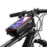 Zeroall Bolsa Cuadro Bicicleta Impermeable Bolsa de Tubo Superior de Bicicleta Bolsa Manillar Bicicleta Compacto Bolsa de Bicicleta con Pantalla Táctil Sensible TPU para Teléfono Celular(Rojo)