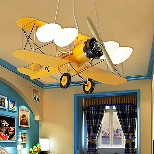 Lampara Ventilador Techo Infantil, Ventilador de Dormitorio Moderno con Forma de AvióN, Luz De Ventilador Regulable PequeñA Regulable para Sala de Estar, Dormitorio, HabitacióN de NiñOs,Yellow