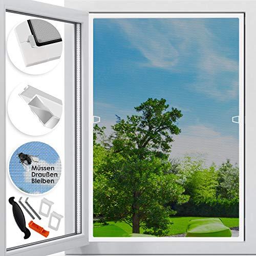 KESSER Fliegenschutzgitter für Fenster | 110 x 130 cm | mit Aluminium Rahmen Fliegengitter Fliegenschutz Insektenschutz, mückengitter, moskitonetz, Spannrahmen, ohne Bohren und Schrauben Weiß
