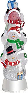 Eldnacele Battery Operated Glittering Water Spinning Light Christmas 3 Piled-up Snowman 12.5 Inches, Color Changing Lighting Decorative Clear Acrylic and Home Decoration