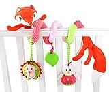 Happy Cherry Babyspielzeug Babybett Hängende Spirale mit Rasseln Spiegel Beißring Kinderwagen Fuchs-Design Beschwichtigen Schlaf Plüschtier Spielzeug -